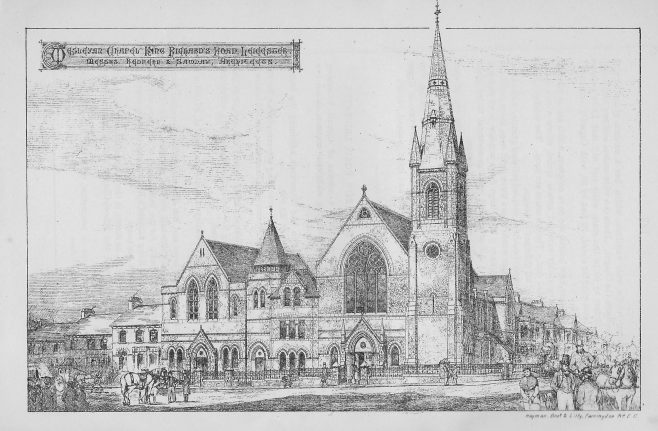 Architectural drawing, from the 26th Annual Report of the Wesleyan Chapel Committee, 1880, p147