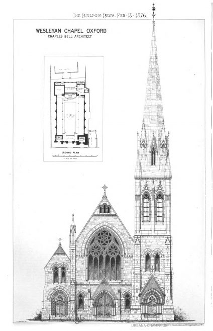Oxford, New Inn Hall Street, Wesley Memorial Wesleyan Church: the architectural drawings | The Building News, 1876