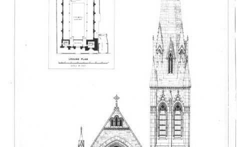 Oxford, New Inn Hall Street, Wesley Memorial Wesleyan Church: the architectural drawings