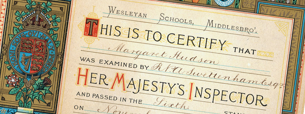 Slideshow: Certificate from Hudson Wesleyan School, Middlesborough