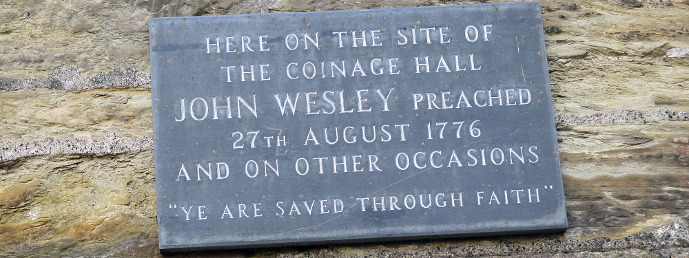 Slideshow: Plaque at Truro commemorating Wesley preaching on the site
