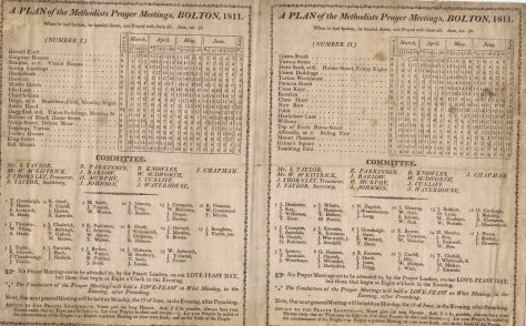 A Plan of the Methodists Prayer Meetings, Bolton, 1811