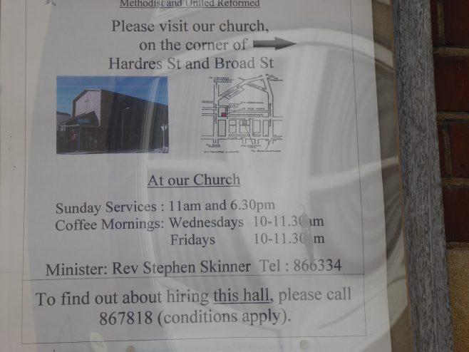 Ramsgate, Hardres Street, WM hall and schools, notice board, 13.10.2018