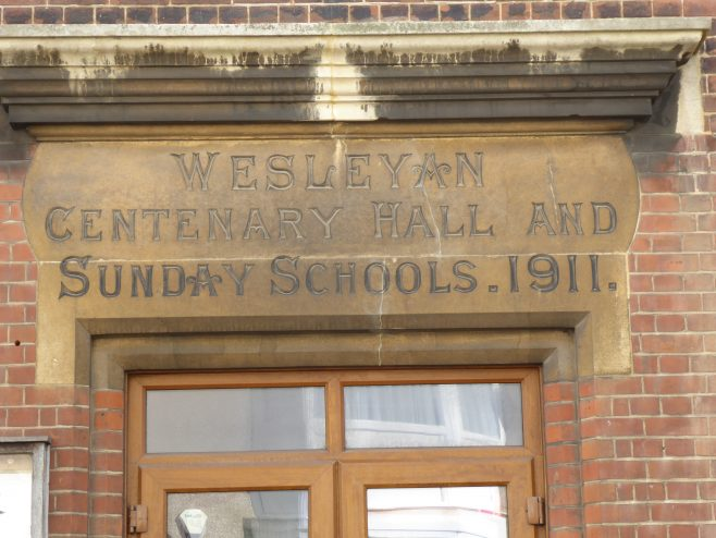 Ramsgate, Hardres Street, WM hall and schools, plaque,, 13.10.2018
