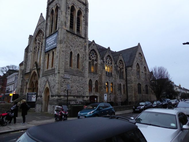 Twickenham, Rivercourt Road , WM Chapel, fron north west, , 31.01.2019