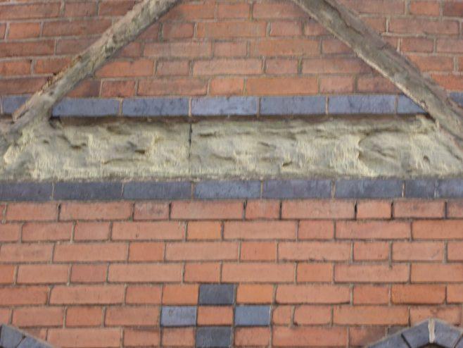 Leicester, Bishop Street Wesleyan Schools, defaced name strip, 16.3.2019