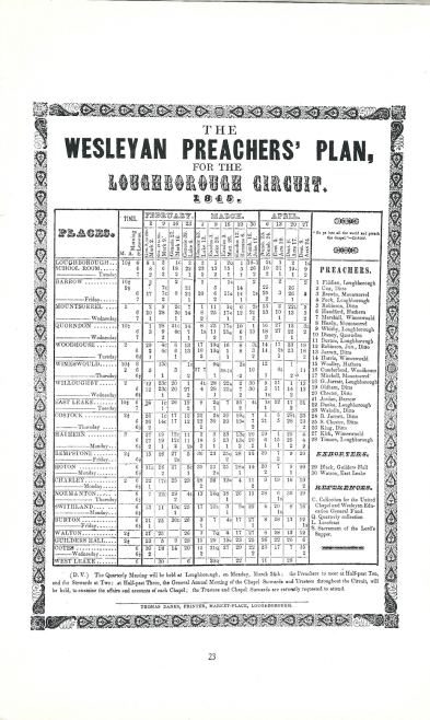 The Wesleyan Preachers' Plan for the Loughborough Circuit. February to April 1845