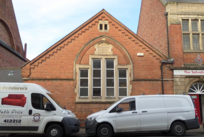 Rockingham Road-Regent Street W M Chapel, facade of 1879 building, 11.1.2019
