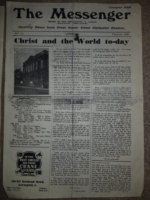 Church Article from Great Homer St Liverpool 1930