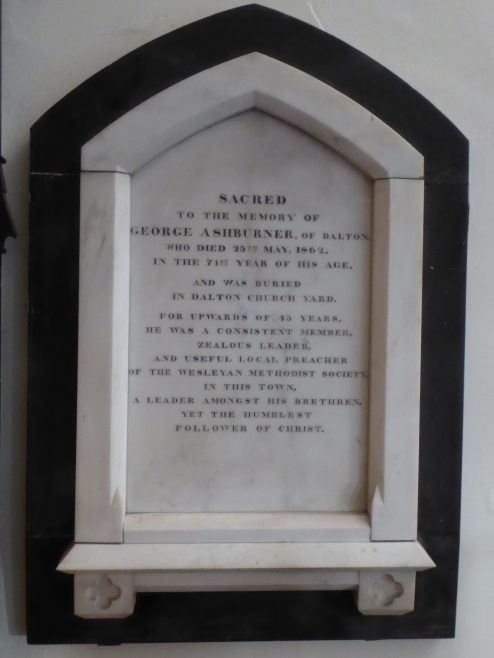 Memorial to George Ashburner, local preacher, at Dalton Methodist Church, Dalton-in-Furness, Cumbria