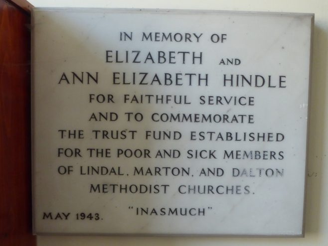 Plaque commemorating Hindle Trust Fund, May 1943, at Dalton Methodist Church, Dalton-in-Furness, Cumbria