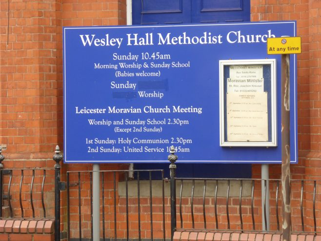 Leicester, Wesley Hall,, chapel name board, 8.9.2018