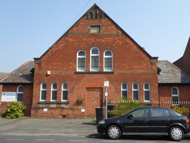 2. Loughborough, Ashby Road WM Chapel, school facade, 17.4.2019