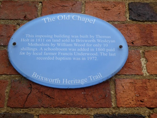 Brixworth WM chapel, interpretation  plaque, 25.05.2019