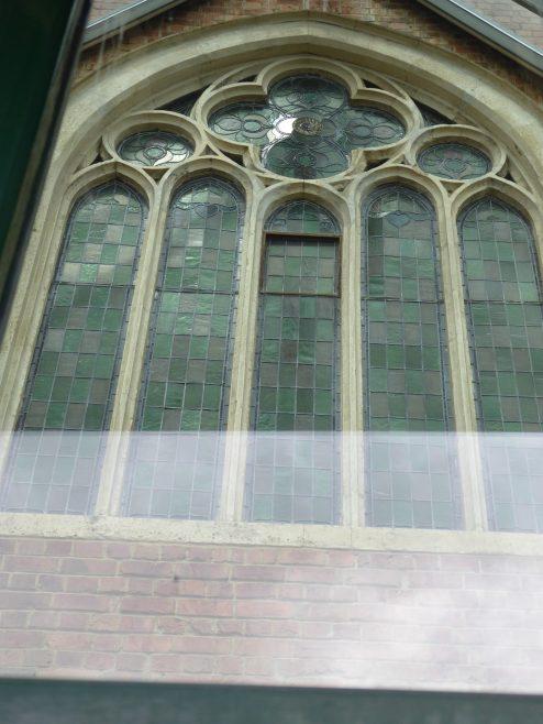 4 Northampton, Stimpson Road, WM Chapel, window of school facade, 10.7.2019