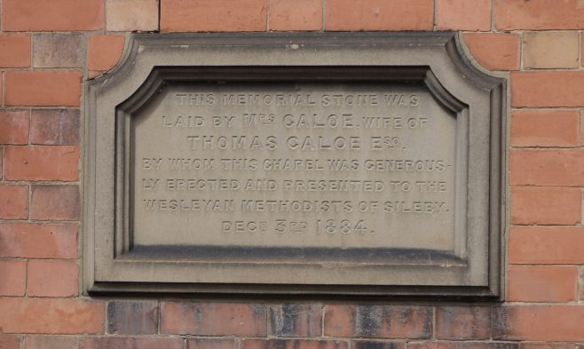Sileby, High Street, foundation stone 1884   Philip Thornborow, 2019
