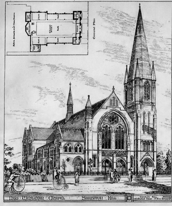 Surbiton Hill Wesleyan Church | The Building News, 1881