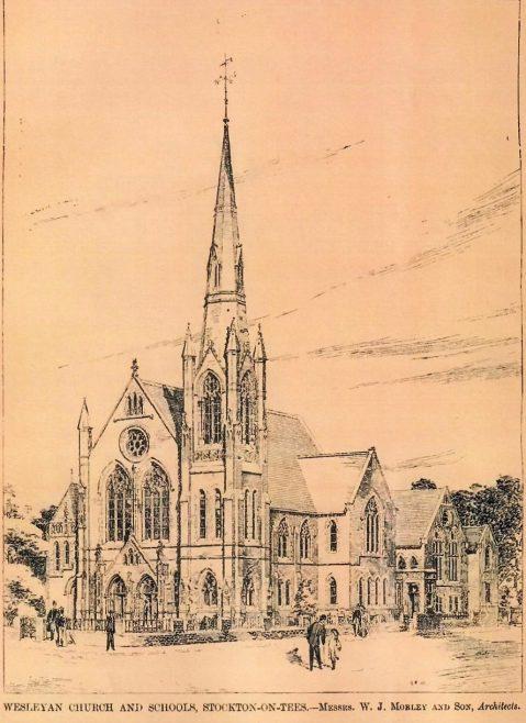 Yarm Road Wesleyan Church, Stockton-on-Tees. Perspective | The Building News, 1904