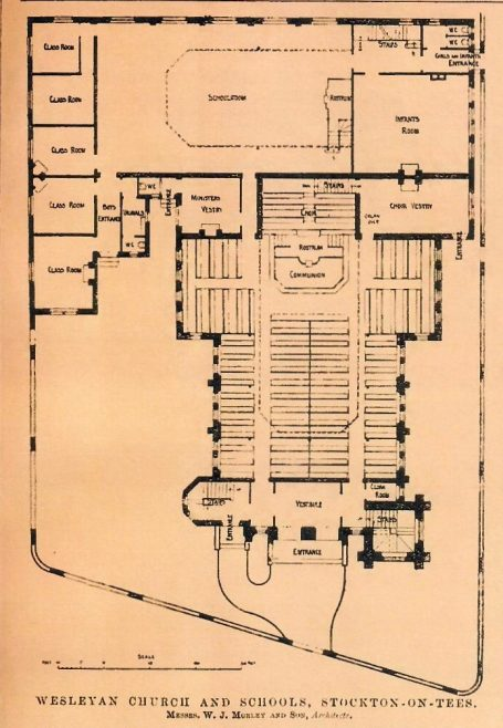 Yarm Road Wesleyan Church, Stockton-on-Tees. Plan | the Building News, 1904
