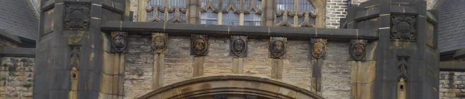 Sheffield, Crookes, Wesley Hall, carvings above the main entrance, 14.2.2020
