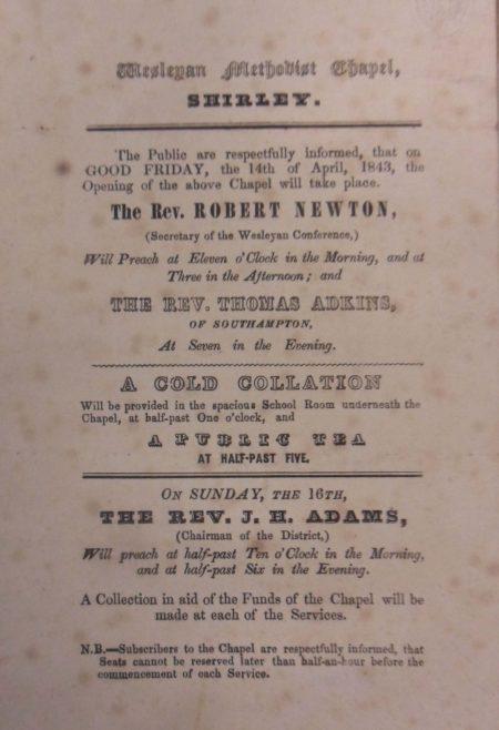 Opening of Shirley Wesleyan Methodist Chapel, Southampton, 1843