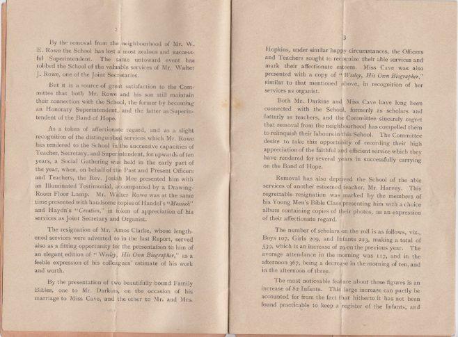 Church Road, Homerton, Sunday School Annual Report, 1896-7