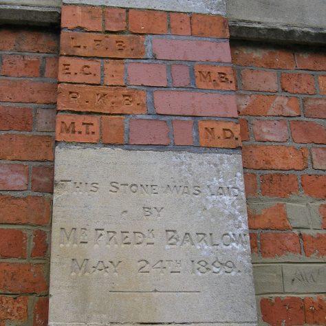 Rothwell, Market Hill Wesleyan Chapel, chapel foundation stone and initialled bricks (ii) ,  28.4.2018