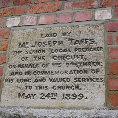 Rothwell, Market Hill Wesleyan Chapel, chapel foundation stone and initialled bricks (iii) ,  28.4.2018