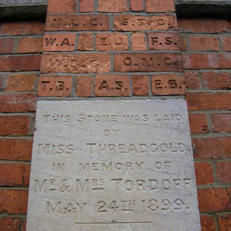 Rothwell, Market Hill Wesleyan Chapel, chapel foundation stone and initialled bricks (iv) ,  28.4.2018