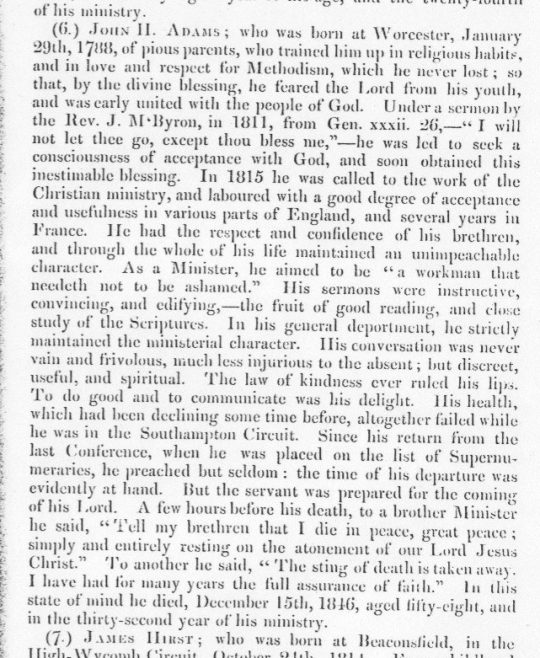 Obituary from the Minutes of the Wesleyan Methodist Conference, 1847
