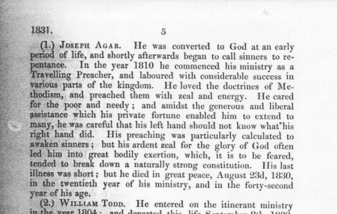 From the Wesleyan Minutes of Conference, 1831