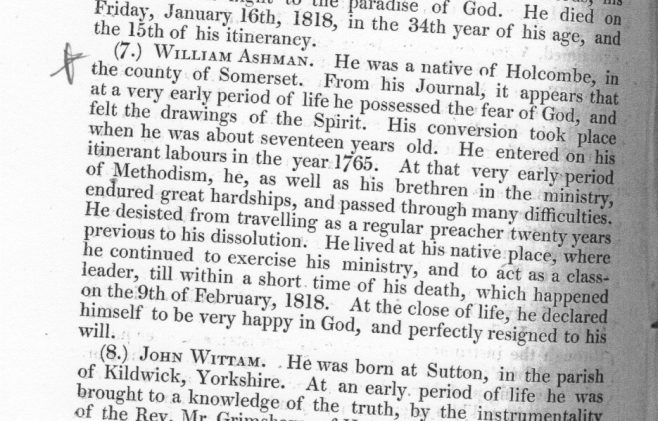 Obituary from the Minutes of the Wesleyan Conference 1818