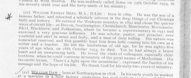Obituary from the Minutes of the Methodist Conference, 1955