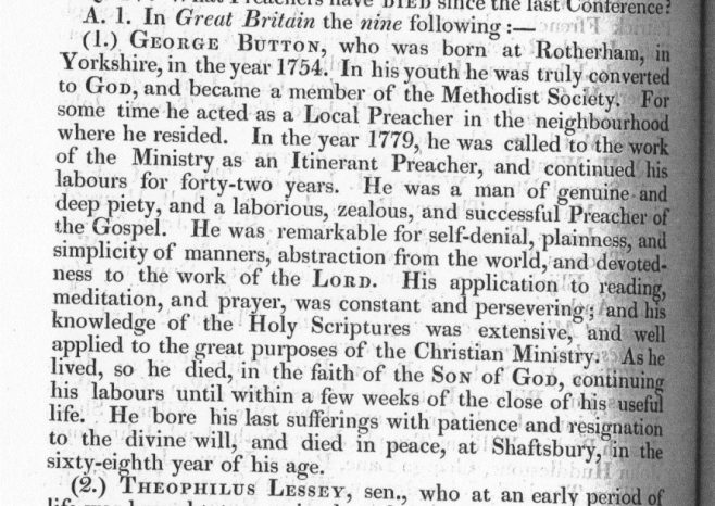 Obituary from the Minutes of the Wesleyan Methodist Conference 1822