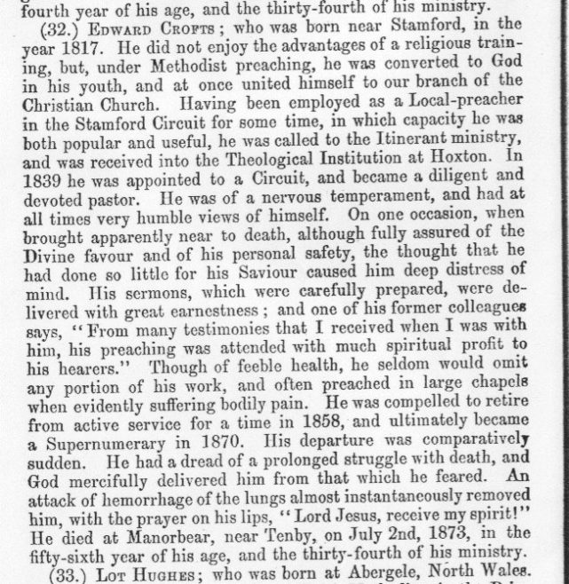 Obituary from the Minutes of the Wesleyan Methodist Conference 1873