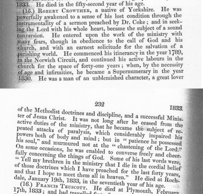 Obituary from the Minutes of the Wesleyan Methodist Conference 1833