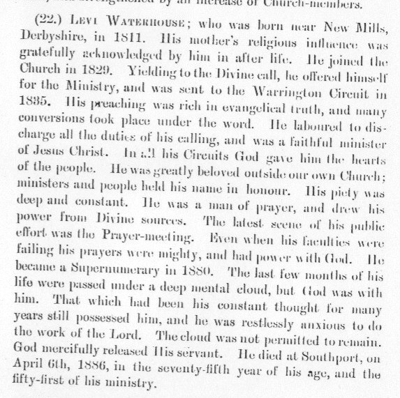 Obituary from the Minutes of the Wesleyan Methodist Conference 1886