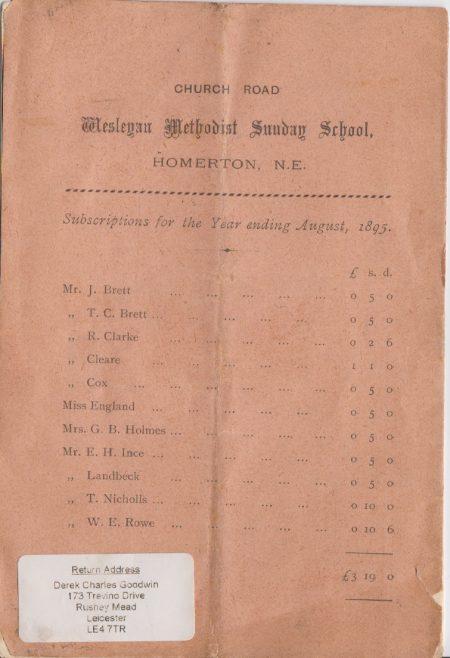 Church Road, Homerton, Sunday School Annual Report, 1894-95