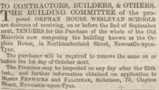 August 1856 advertisement for building contractors to carry out work on the Orphan House | Image from the collections of the Newcastle upon Tyne District Archives