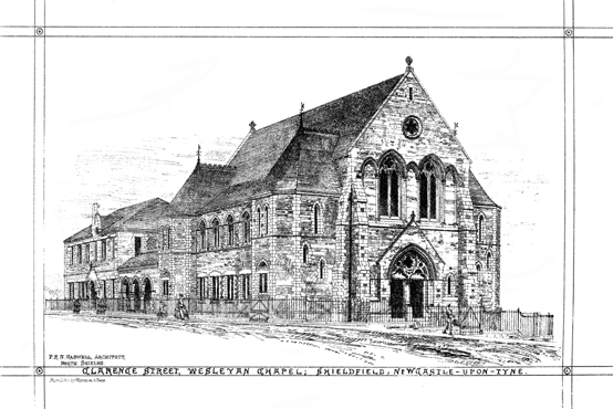 Architects sketch for the Clarence Street WM Chapel, Newcastle 1862 | Image from the collections of the Newcastle upon Tyne District Archives