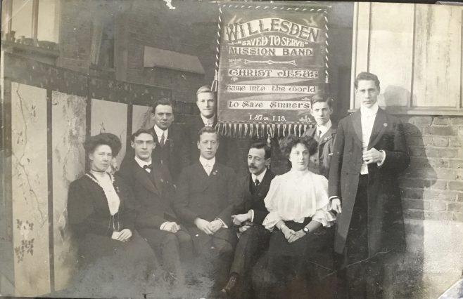 Willesden Wesleyan Mission Band - Edwardian photograph