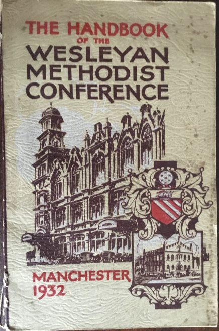 The Albert Hall Wesleyan Mission Manchester on the front of the Conference Handbook