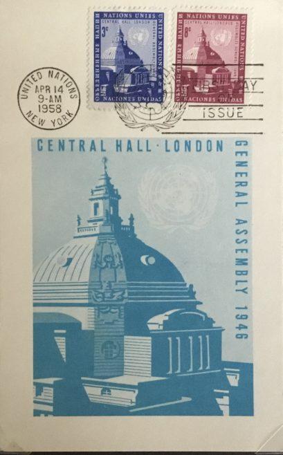 Westminster Wesleyan Methodist Central Hall UN Meeting commemorative stamps