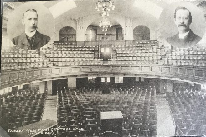Paisley Wesleyan Methodist Central Hall on left Rev Samuel Chadwick then Superintendent later Leeds, Cliff College and President