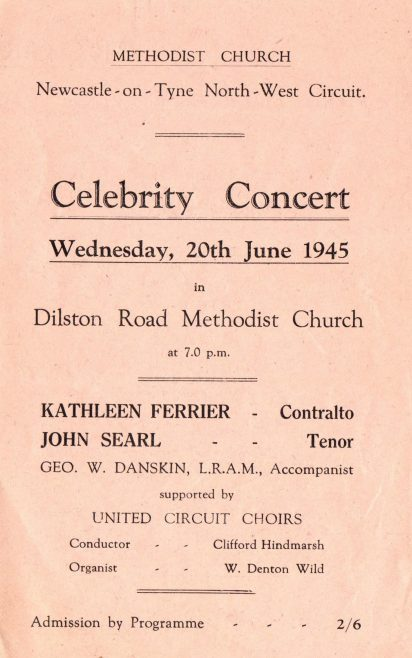 Programme for concert given by Kathleen Ferrier June 1945 | Image from the collections of the Newcastle upon Tyne District Archives