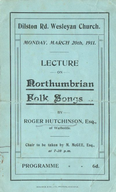 Programme for a lecture on Northumbrian Folk Songs, 1911 | Image from the collections of the Newcastle upon Tyne District Archives