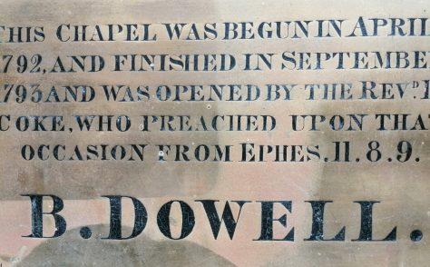 Door Plate, Sans Street Wesleyan Chapel, Sunderland 1793