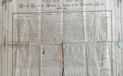 Sunderland Wesleyan Circuit Preaching Plan 1834 - 1835