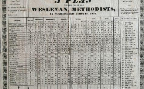 Sunderland Wesleyan Circuit Preaching Plan 1832