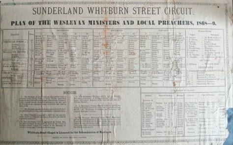 Sunderland Whitburn Street Circuit Preaching Plan 1868 - 1869